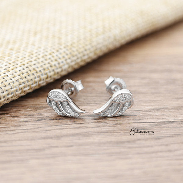 925 Sterling Silver CZ Angel Wings Stud Earrings-Glitters-New Zealand