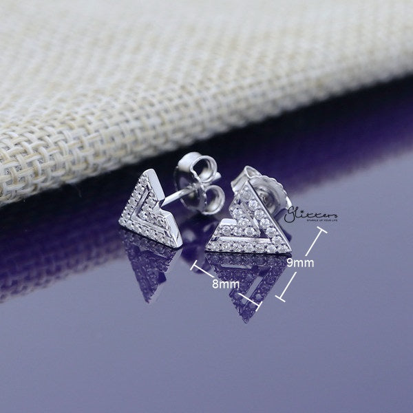 925 Sterling Silver CZ Paved Double V Shape Stud Earrings - Glitters-New Zealand