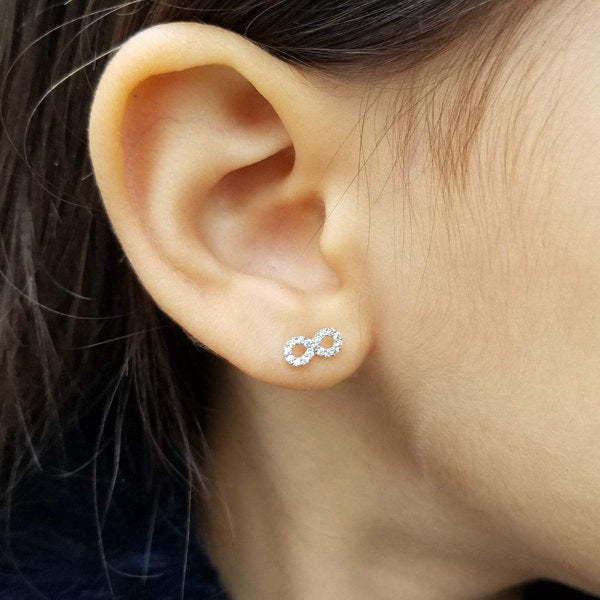 925 Sterling Silver CZ Paved Infinity Symbol Stud Earrings-Glitters-New Zealand