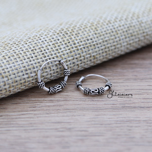 Sterling Silver Bali Hoop Sleeper Earrings-12mm-SSE0231-Glitters-New Zealand