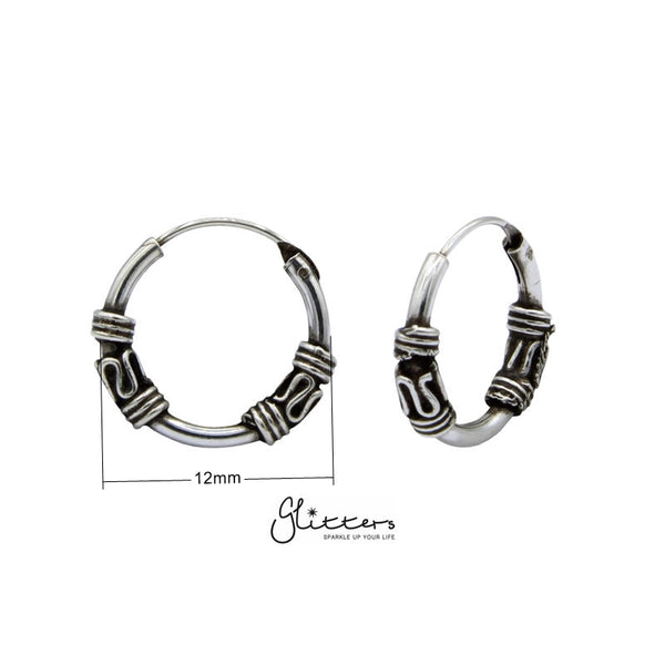 Sterling Silver Bali Hoop Sleeper Earring -12mm - SSE0232-Glitters-New Zealand