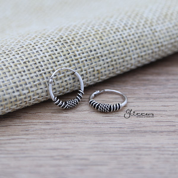 Sterling Silver Bali Hoop Sleeper Earrings - 12mm - SSE0233