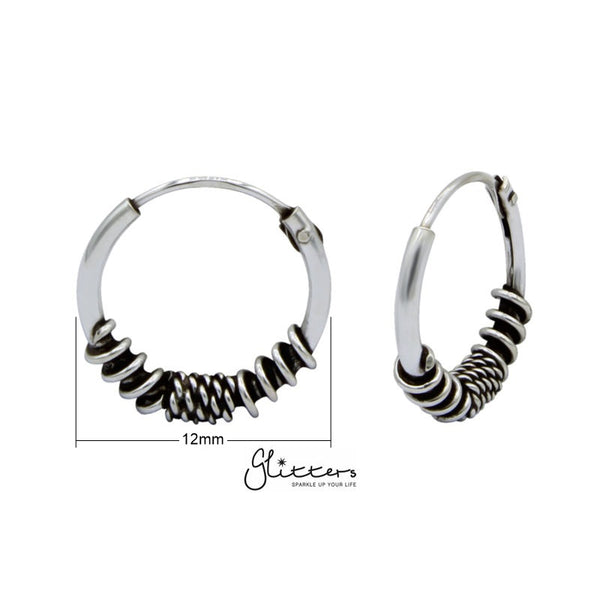 Sterling Silver Bali Hoop Sleeper Earrings - 12mm - SSE0233-Glitters-New Zealand