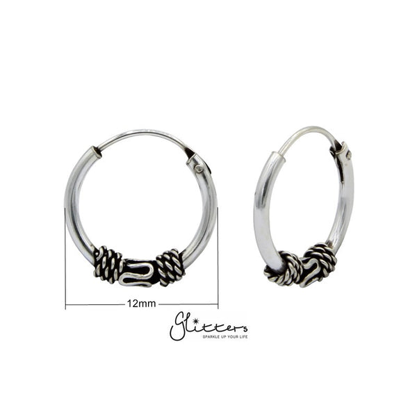 Sterling Silver Bali Hoop Sleeper Earring - 12mm - SSE0234-Glitters-New Zealand