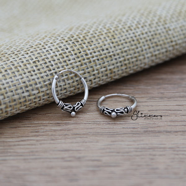 Sterling Silver Bali Hoop Sleeper Earring - 12mm - SSE0235