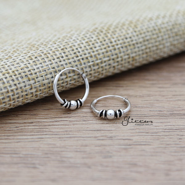Sterling Silver Bali Hoop Sleeper Earrings -12mm-SSE0236