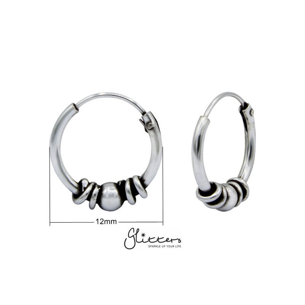 Sterling Silver Bali Hoop Sleeper Earrings -12mm-SSE0236-Glitters-New Zealand