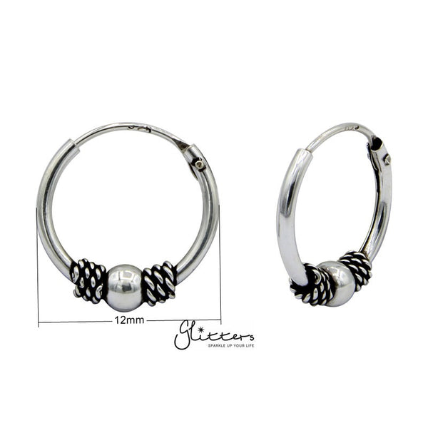 Sterling Silver Bali Hoop Sleeper Earrings - 12mm - SSE0237