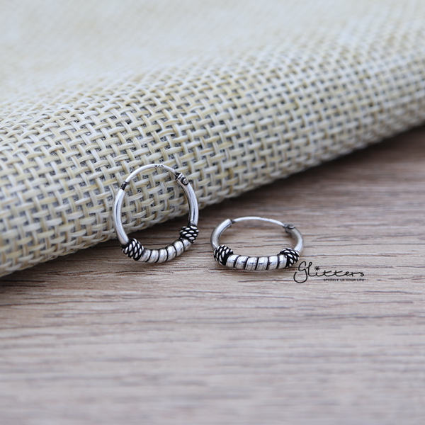 Sterling Silver Bali Hoop Sleeper Earring - 12mm - SSE0238-Glitters-New Zealand