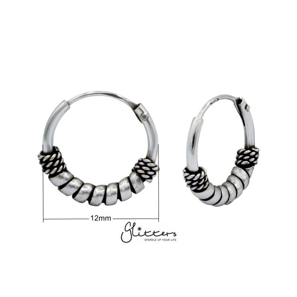 Sterling Silver Bali Hoop Sleeper Earring - 12mm - SSE0238