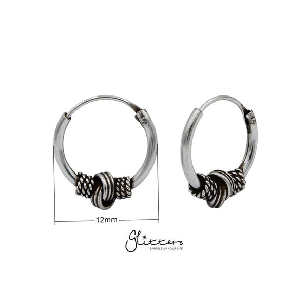 Sterling Silver Bali Hoop Sleeper Earring - 12mm - SSE0239