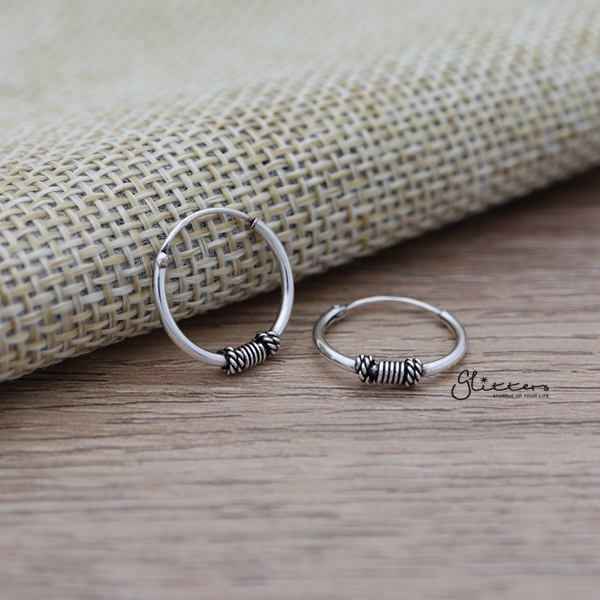 Sterling Silver Bali Hoop Sleeper Earring - 14mm - SSE0240