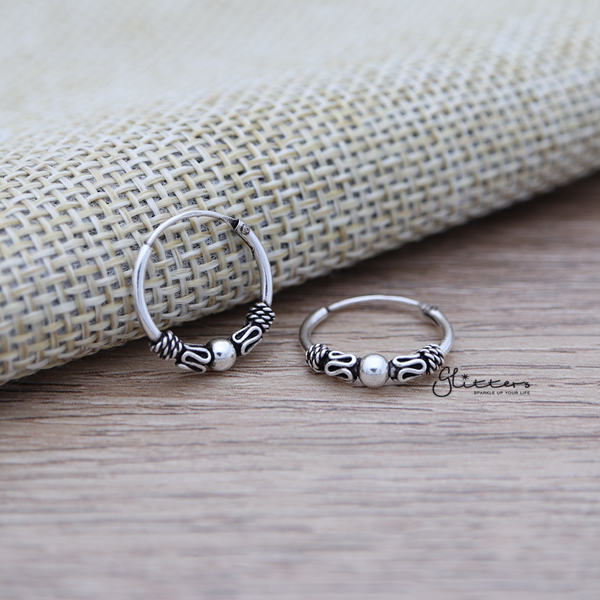 Sterling Silver Bali Hoop Sleeper Earring - 14mm - SSE0241-Glitters-New Zealand