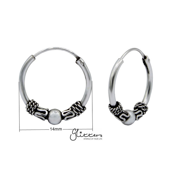 Sterling Silver Bali Hoop Sleeper Earring - 14mm - SSE0241