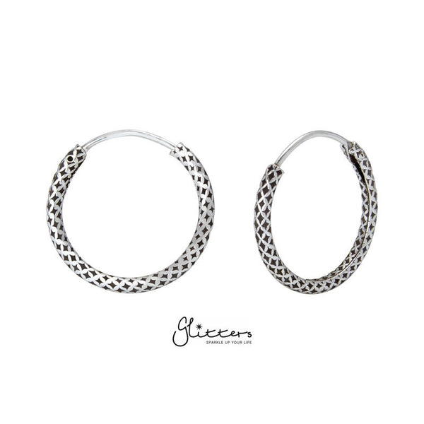 Sterling Silver 14mm Bali Hoop Earring - Style 242