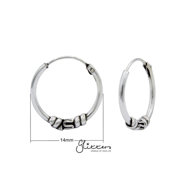 Sterling Silver Bali Hoop Sleeper Earrings - 14mm - SSE0244