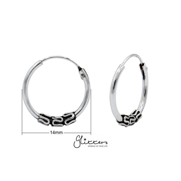 Sterling Silver Bali Hoop Sleeper Earrings - 14mm - SSE0245