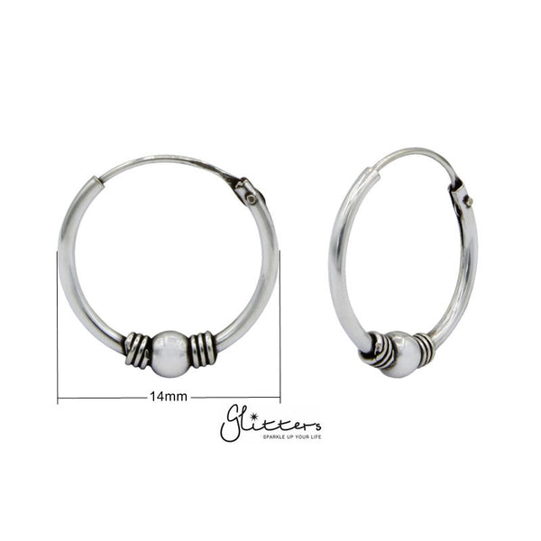 Sterling Silver Bali Hoop Sleeper Earring - 14mm - SSE0246-Glitters-New Zealand