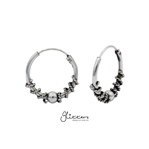 Sterling Silver 14mm Bali Hoop Earring - Style 247