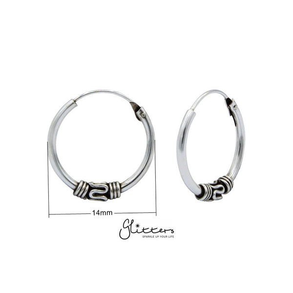 Sterling Silver Bali Hoop Sleeper Earrings - 14mm - SSE0248