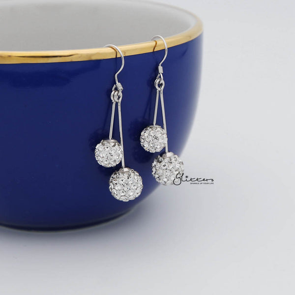 Two Crystal Ferido Disco Balls with Sterling Silver Hook Dangle Earrings