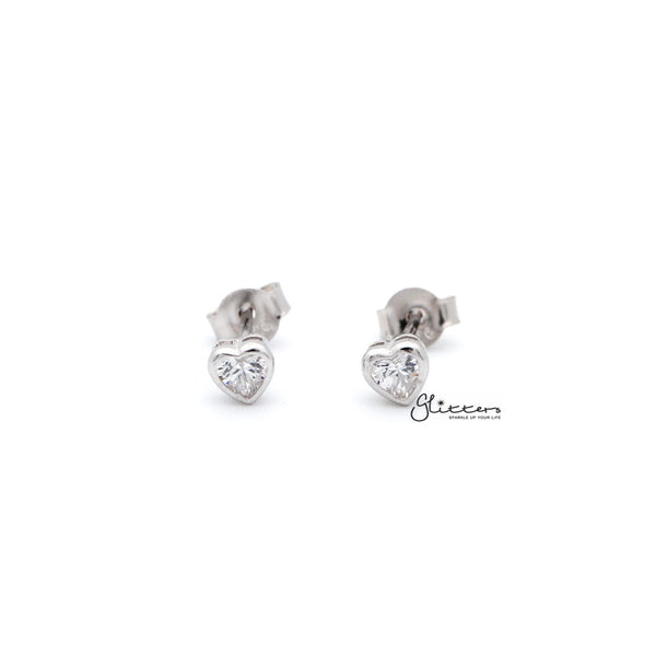 Women's Sterling Silver Heart C.Z Stud Earrings
