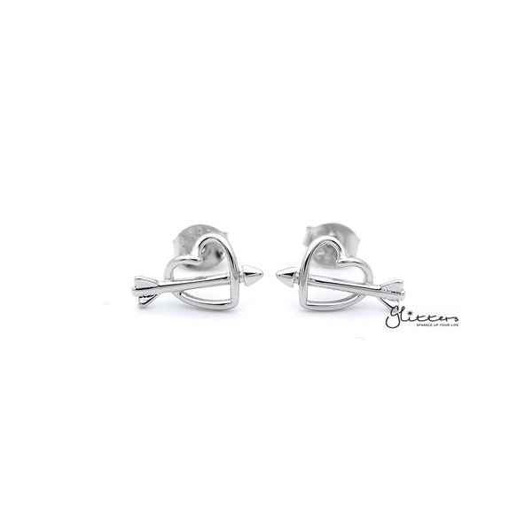 Sterling Silver Heart & Arrow Women's Stud Earrings