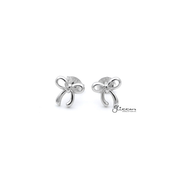 Sterling Silver Bow Women's Stud Earrings