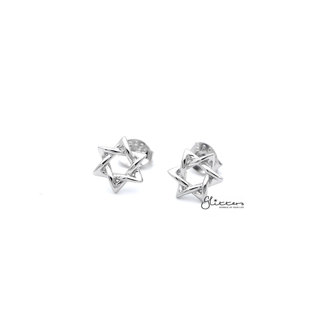Sterling Silver Star of David Women's Stud Earrings-Glitters-New Zealand
