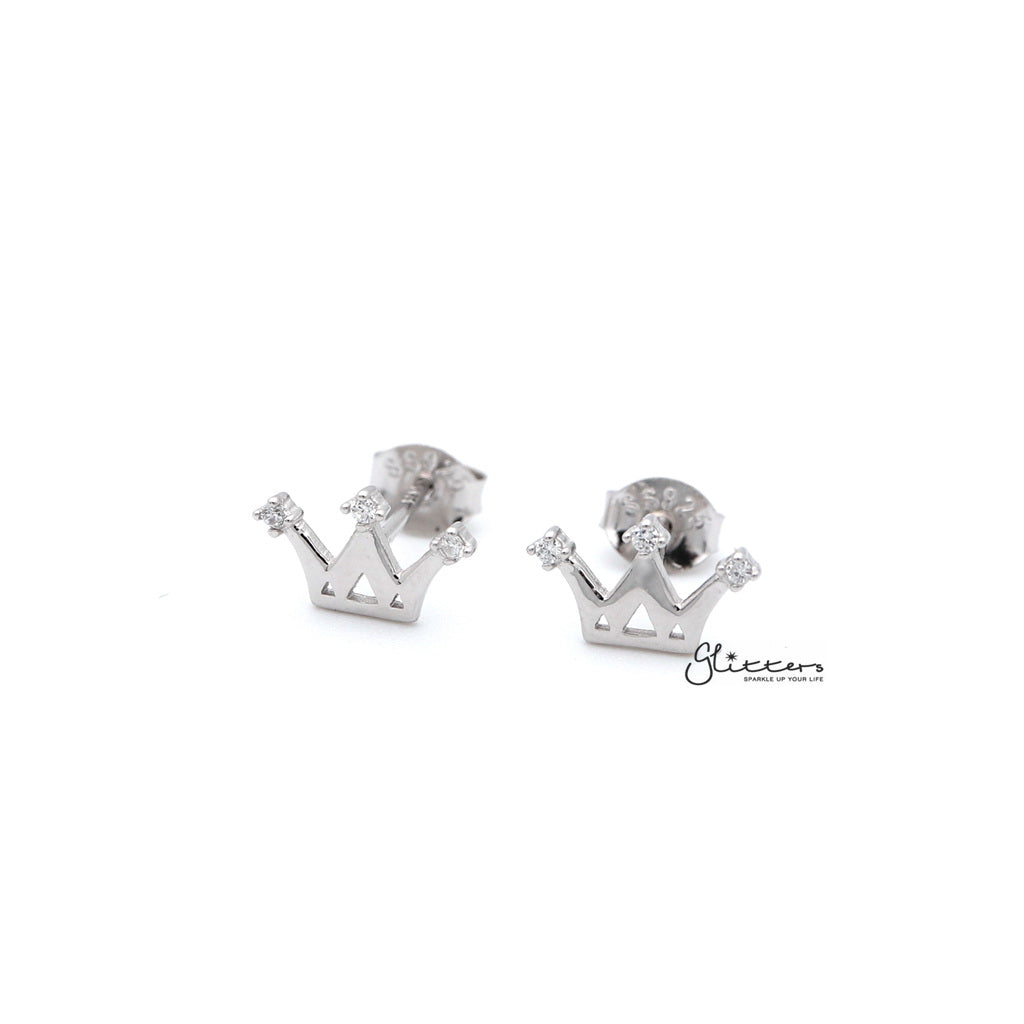Women's Sterling Silver Crown with 3 C.Z Stud Earrings-Glitters-New Zealand