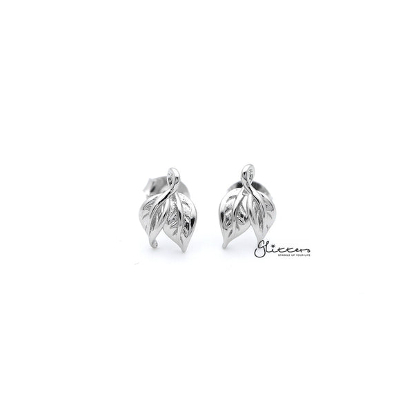 Sterling Silver Leaves Women's Stud Earrings