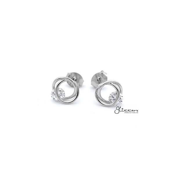 Women's Sterling Silver Hollow Circles with C.Z Stud Earrings