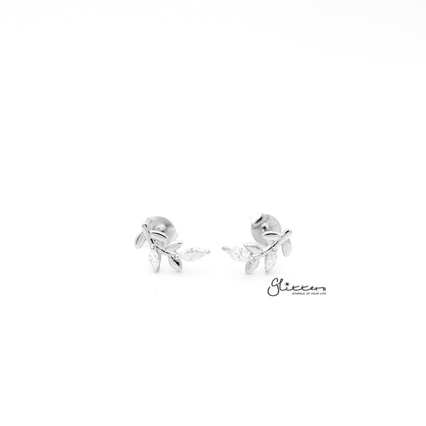 Sterling Silver Leaf with C.Z Women's Stud Earrings