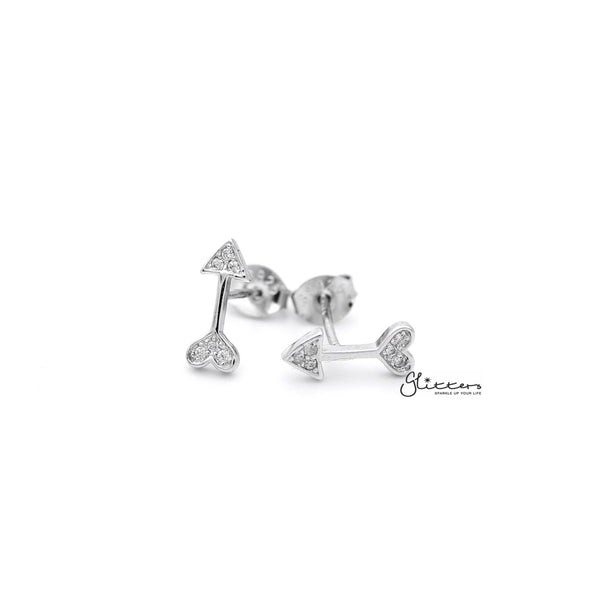 Sterling Silver Arrow and Heart with C.Z Paved Women's Stud Earrings