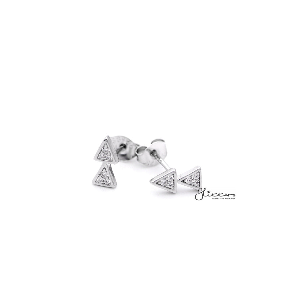 Sterling Silver Double Triangles with C.Z Paved Women's Stud Earrings-Glitters-New Zealand