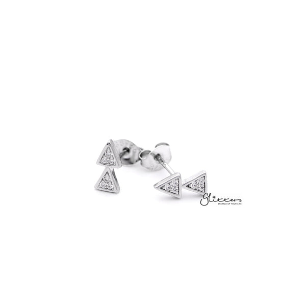 Sterling Silver Double Triangles with C.Z Paved Women's Stud Earrings