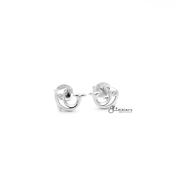Sterling Silver Dolphin with C.Z Eyes Women's Stud Earrings