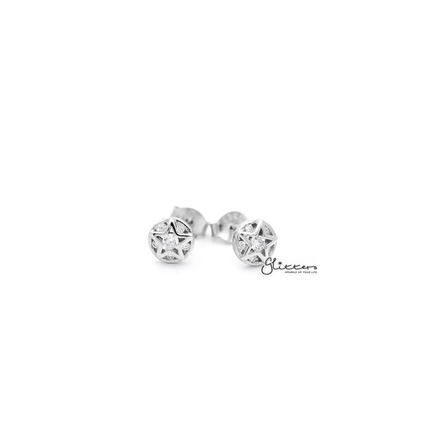 Sterling Silver Circle Star with C.Z Women's Stud Earrings