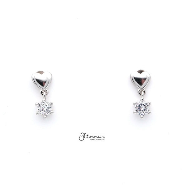 Sterling Silver Heart with Prong Setting C.Z Women's Stud Earrings