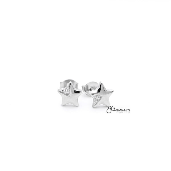 Sterling Silver Star with C.Z Women's Stud Earrings