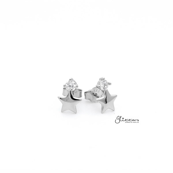 Sterling Silver Star with Prong Set C.Z Women's Stud Earrings