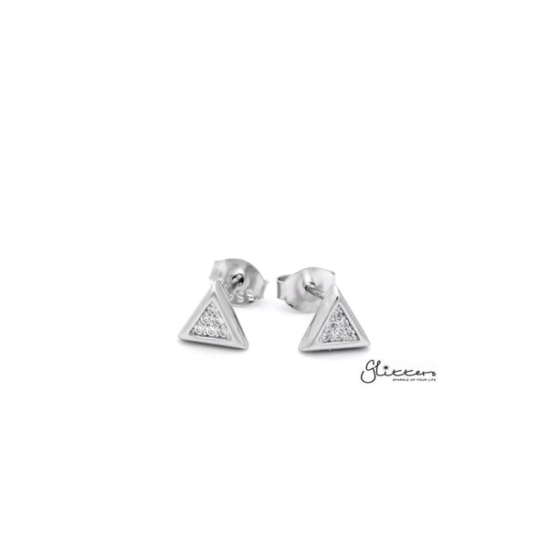 Sterling Silver Triangle with C.Z Paved Women's Stud Earrings