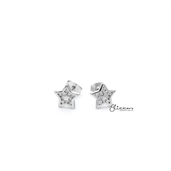 Sterling Silver Star with C.Z Paved Women's Stud Earrings
