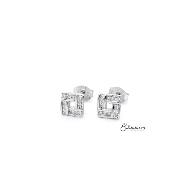 Sterling Silver Square with C.Z Paved Women's Stud Earrings