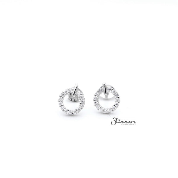 Sterling Silver Hollow Circle with C.Z Paved Women's Stud Earrings