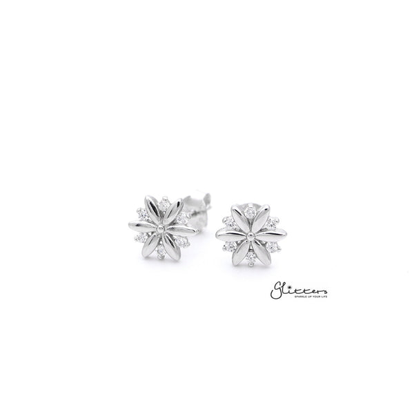 Sterling Silver C.Z Flower Women's Stud Earrings