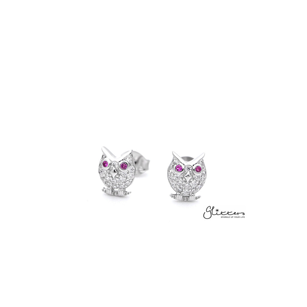 Sterling Silver C.Z Paved Owl Women's Stud Earrings-Glitters-New Zealand