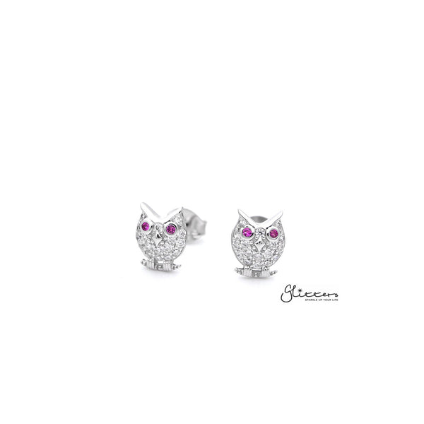 Sterling Silver C.Z Paved Owl Women's Stud Earrings