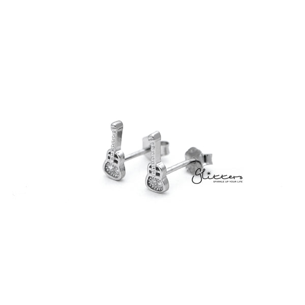 Sterling Silver Guitar Women's Stud Earrings