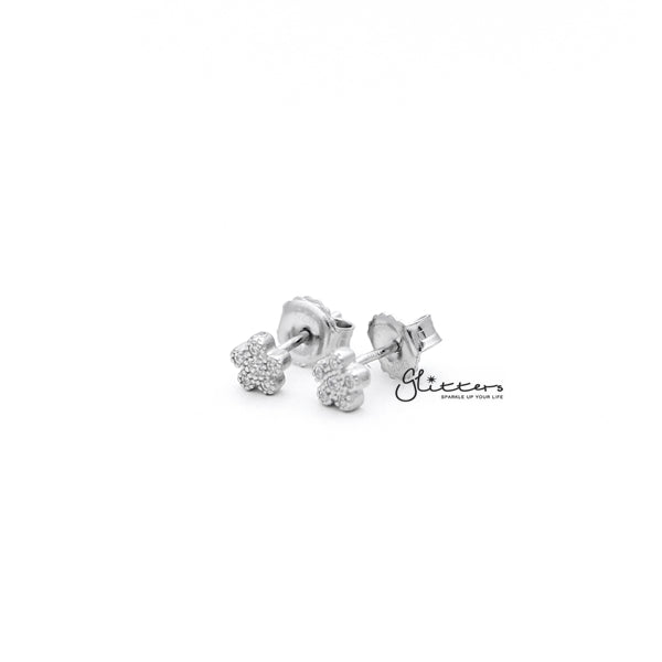 Sterling Silver C.Z Paved Flower Women's Stud Earrings